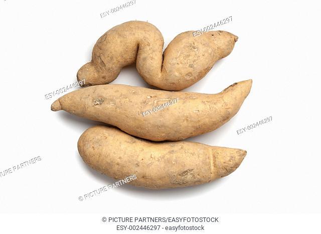 Sweet potates on white background