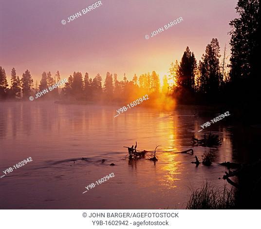 Rising sun breaks through morning fog along the Deschutes River, near Besson Camp, Deschutes National Forest, Oregon, USA