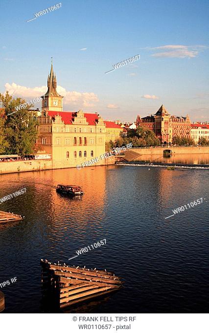 Czech Republic, Prague, Vltava River, view from Charles Bridge tower