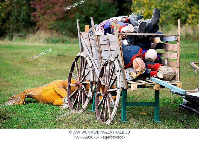 Cardboard soldiers and horse in a wagon on the day before the historic reenacting of the Battle of the Nations in a field in Markkleeberg, Germany