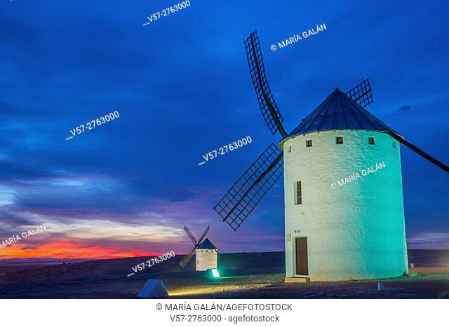 Two windmills at nightfall. Campo de Criptana, Ciudad Real province, Castilla La Mancha, Spain