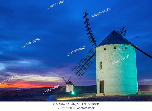 Two windmills at nightfall. Campo de Criptana, Ciudad Real province, Castilla La Mancha, Spain
