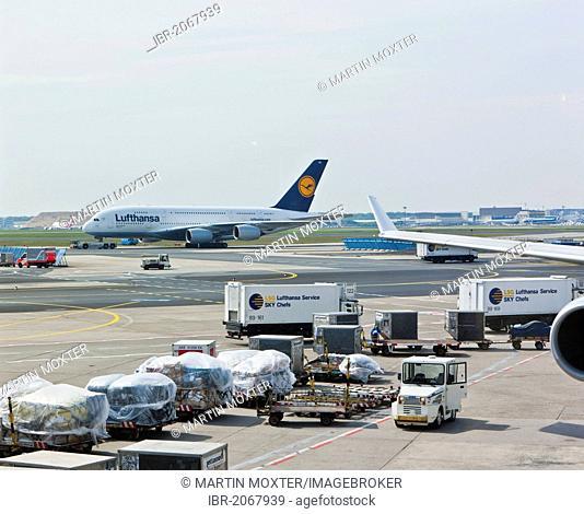 Lufthansa Airbus A380 on the tarmac, Frankfurt, Hesse, Germany, Europe