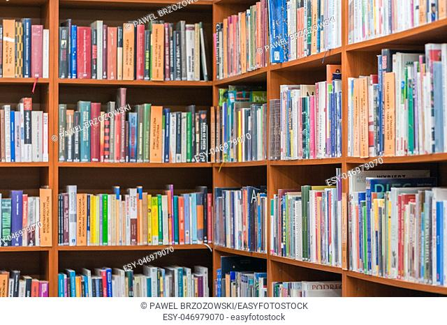 Bookshelf in public library, side angle view, horizontal