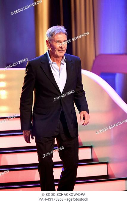 Actor Harrison Ford seen during the German television show 'Wetten, dass,' in Bremen, Germany, 05 October 2013. Photo: Bodo Schackow | usage worldwide