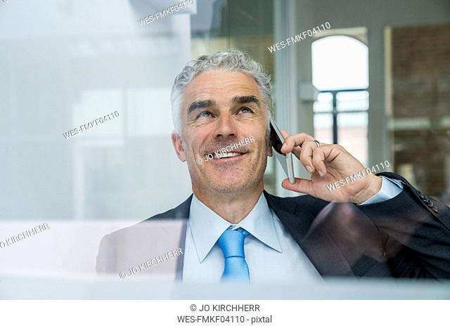 Mature businessman talking on the phone