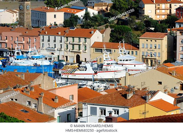 France, Pyrenees Orientales, Port Vendres, fishing port, commercial port and marina
