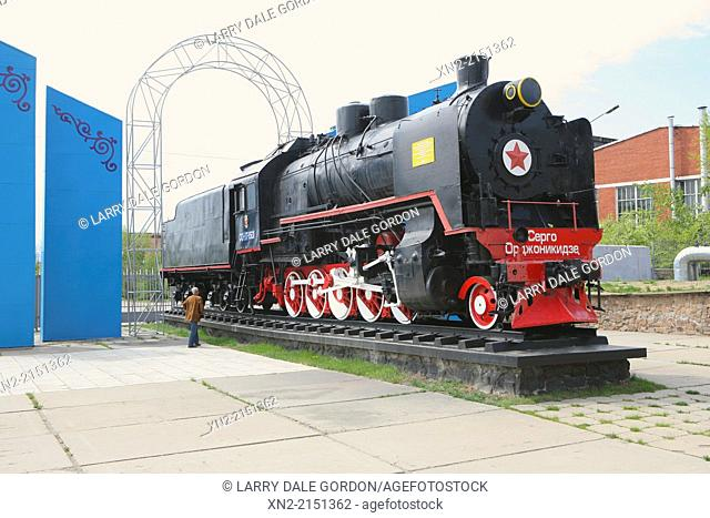 Antique Russian steam train engine: the first locomotive produced at the factory in Ulan Ude, Buryatia, Siberia, Russia