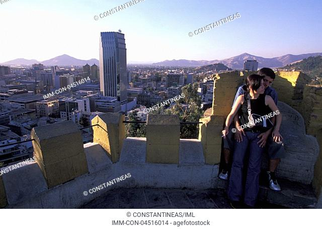 View of the city from Cerra Santa Lucia Santiago, Chile, South America