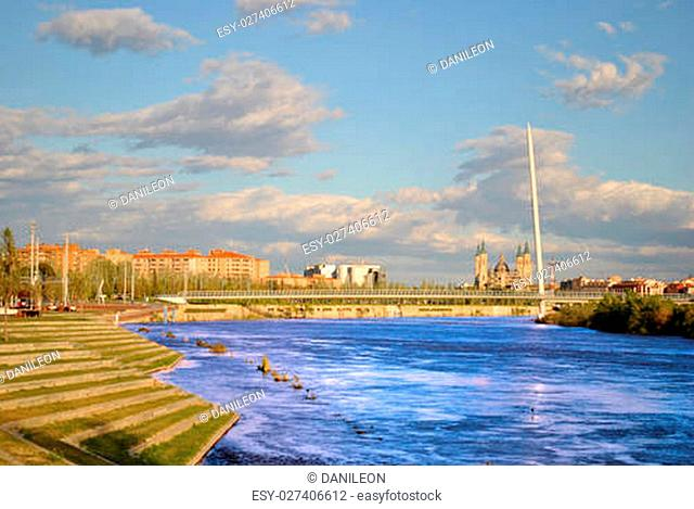 The river Ebro with the Basilica del Pilar to the bottom