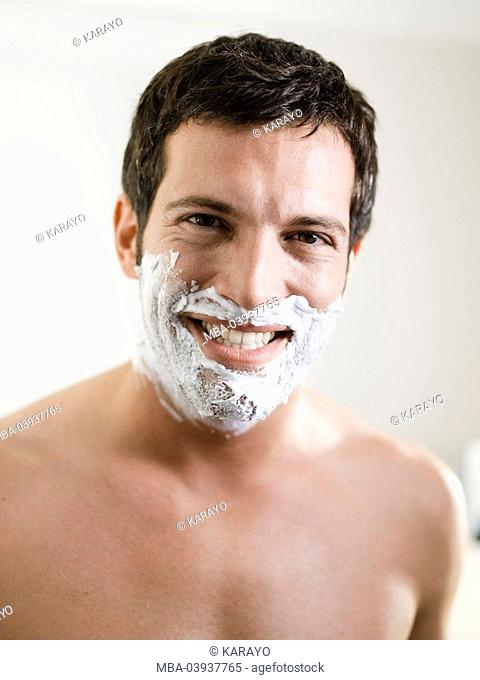 Man, attractively, smiling, face, shaving cream, portrait
