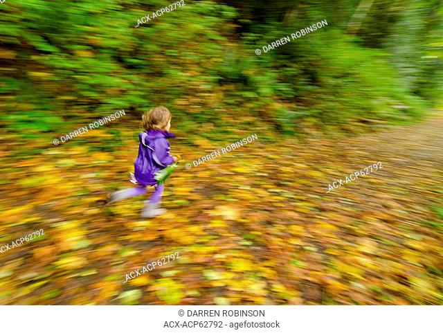 Young girl frolicks amongst the autumn leaves at Lang Creek Salmon Hatchery near Powell River, Sunshine Coast, British Columbia, Canada