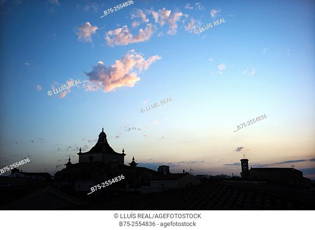 Silhouette of the dome of the El Carmen church and the bell tower of the Parish of Santa Maria. Mahon, Maó, Menorca, Balearic Islands, Spain, Europe