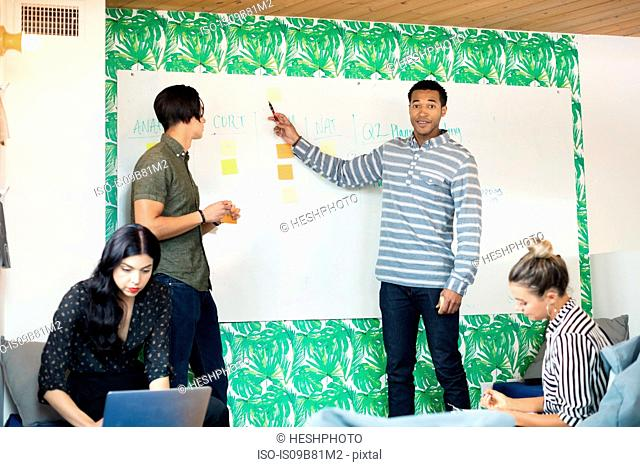Young businessman pointing at whiteboard in creative meeting room