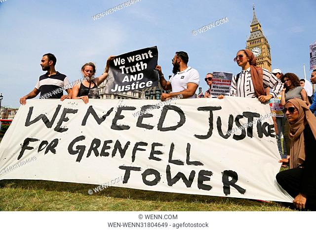 Hundreds of protesters take part in Justice for Grenfell Tower in Parliament Square. Featuring: Atmosphere Where: London