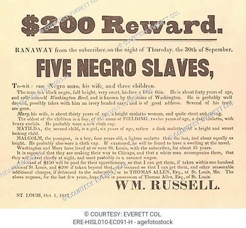 1847 Advertisement For The Return Of A Runaway Slave His Wife And Three Children