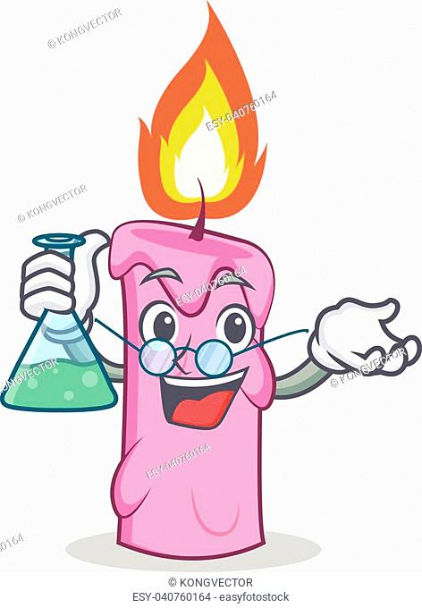 Professor candle character cartoon style vector illustration