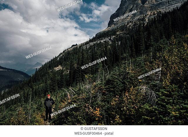 Canada, British Columbia, Yoho National Park, man hiking at Mount Burgess