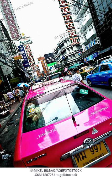 Taxis in Chinatown  Bangkok, Thailand