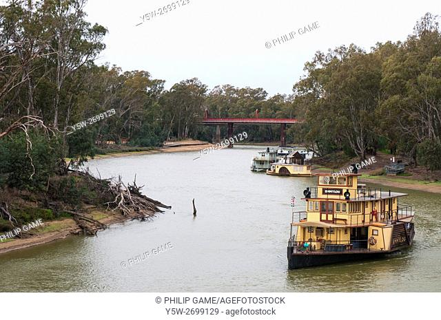 Historic paddlesteamers on the Murray at Echuca, Victoria, Australia