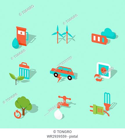 Set of icons related to eco green energy
