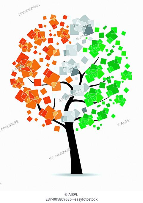 A freedom tree having leafs in an Indian flag colors on white ba