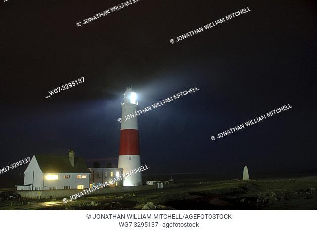 UK Portland Bill -- 31 Jan 2014 -- Portland Bill lighthouse in Dorset, England, UK during the weeks of severe storms that left widespread damage and flooding in...