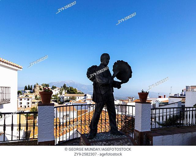 Statue of the musician Antonio Miguel Gallego Romero in Comares Village, . One of the highest pueblo blancos in Andalucía (739 metres above sea level)