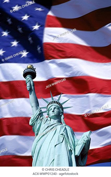 USA, US Flag and Statue of Liberty composite digital Enhancement