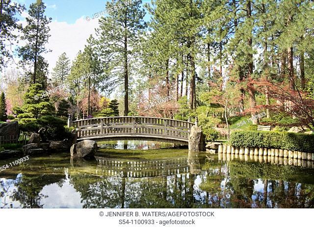 A bridge over the Kiri Pond in the Nishinomiya Japanese Garden, Spokane, Washington, USA
