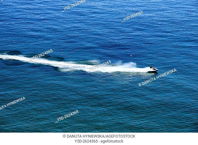 Jet ski seen from above, Atlantic Ocean, Lagos, Algarve, Portugal, Europe