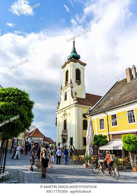 Szentendre near Budapest Main Square foe ter and the Blagovescenska church Szentendre, which calls itself the town of artists and churches