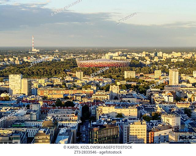 Poland, Masovian Voivodeship, Warsaw, City Center, Skyline seen from the Palace of Culture and Science