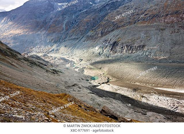 Glacier foreland and desintegration moraine landscape of glacier Pasterze near Grossglockner with lakes formed by melting of dead ice lakes  Beneath the thick...