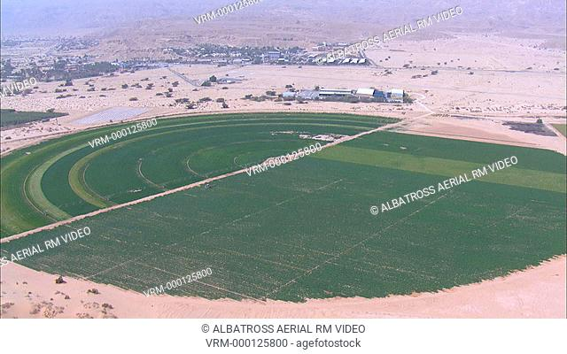 Aerial HD shot of Agriculture fields in Negev Desert
