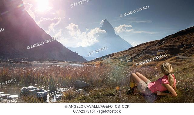 Woman watching Matterhorn, Riffelsee, Cantos Wallis, Switzerland
