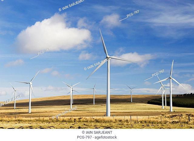 Wind turbines at Dun Law wind farm, near Edinburgh, Scotland, UK