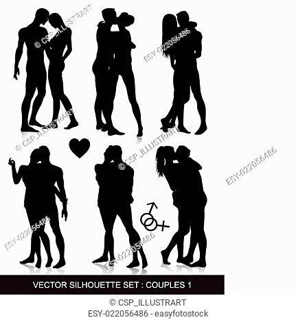 Couple silhouette set
