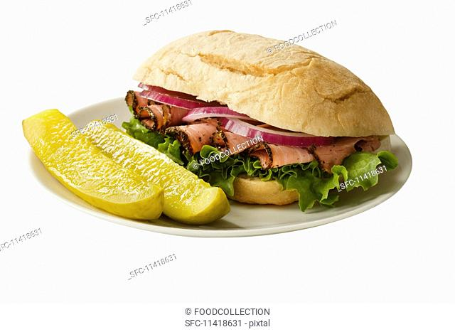 A pastrami sandwich with dill pickles