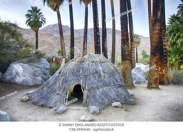 A sweat hut on the floor Andreas Canyon in Palm Springs, California