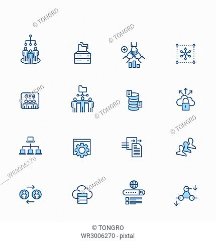Set of various line icons related to communication network