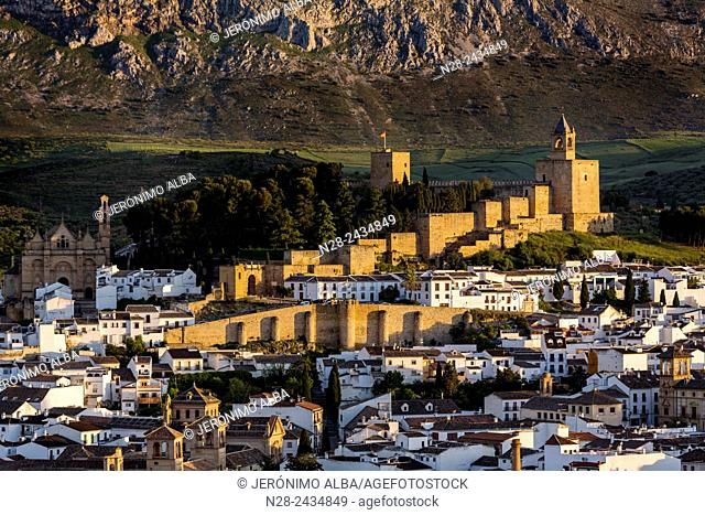 Alcazaba (fortress) overlooking the city of Antequera, Malaga province, Andalusia, Spain