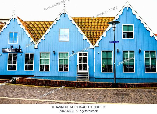 Blue houses of the Inntel Hotel Amsterdam Zaandam, the Netherlands