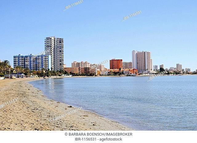Beach, high-rise buildings, lagoon, inland sea, La Manga, Mar Menor, Murcia, Spain, Europe