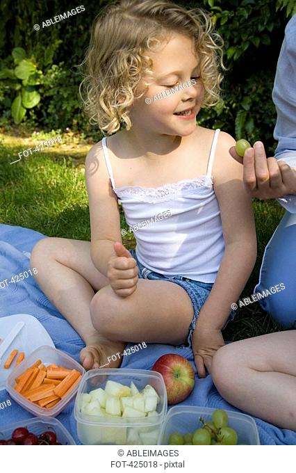 Young girl at a picnic