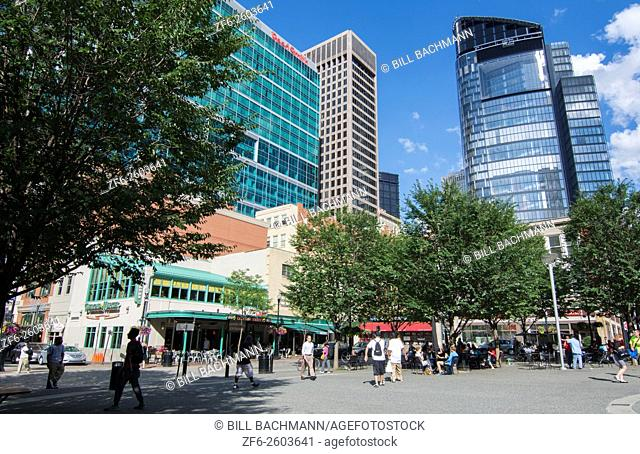 Pittsburgh Pennsylvania PA the Market Square downtown area of skyscrapers restaurants and shops and people moving