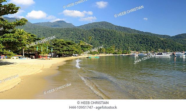 South America, Brazil, Ilha Grande, panorama, beach, tropical, Vila do Abrao, boats, harbour, bay, island, coast