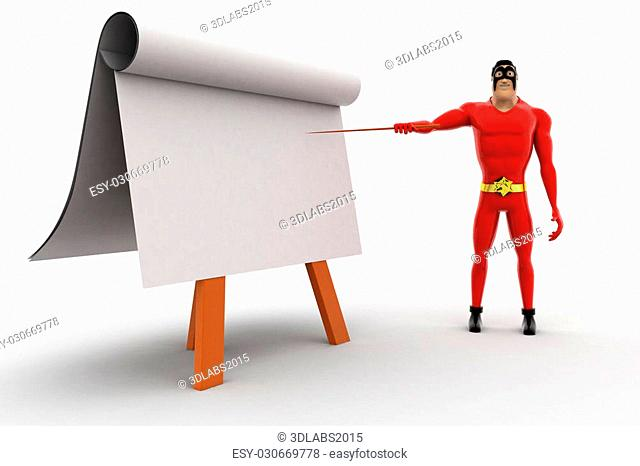 3d superhero teach on board with paper slide concept on white background, sid angle view