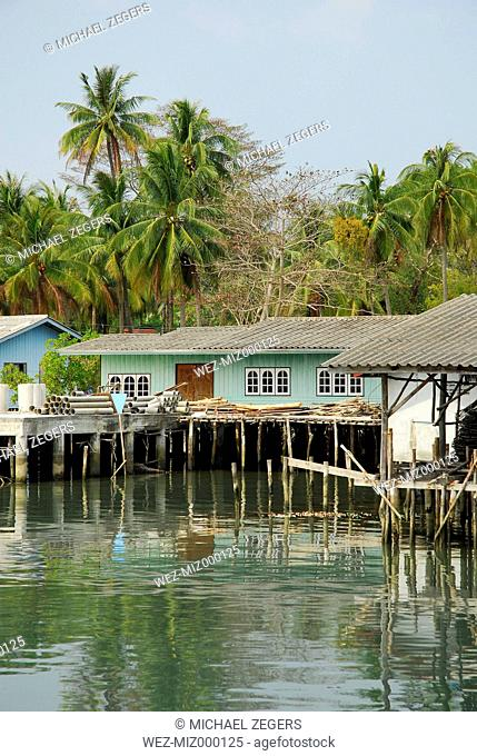 Thailand, Pier with housing in Bang Bao bay at Mu Ko Chang National Park