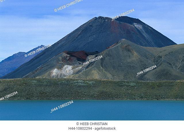 Blausee, lake, Mount Ngauruhoe, New Zealand, north island, park, scenery, landscape, Tongariro national, volcanical